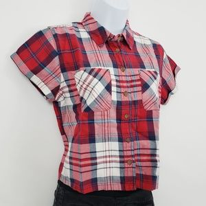 Topshop Red Plaid Crop Top Size 4*